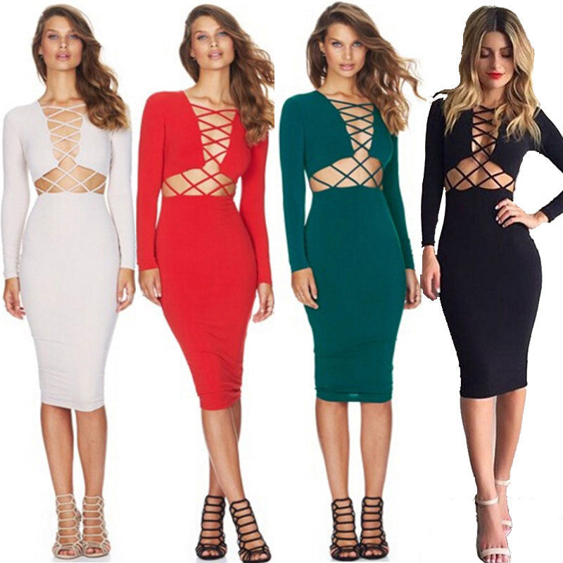 Women's Sexy Long Sleeve Stretch Bodycon Party Bandage Dresses