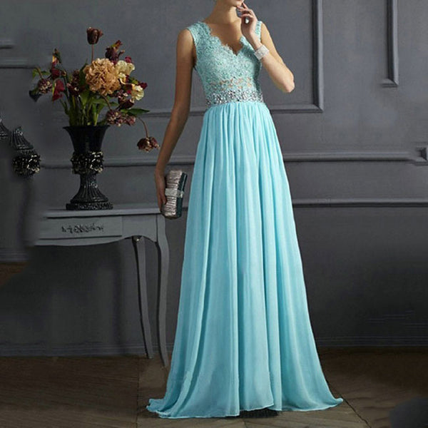 Elegant V-neck Sequins Backless Formal Prom Gowns Long Maxi Dress Ruffles Women's Blue Mesh A-line Chiffon Formal Evening Dresses
