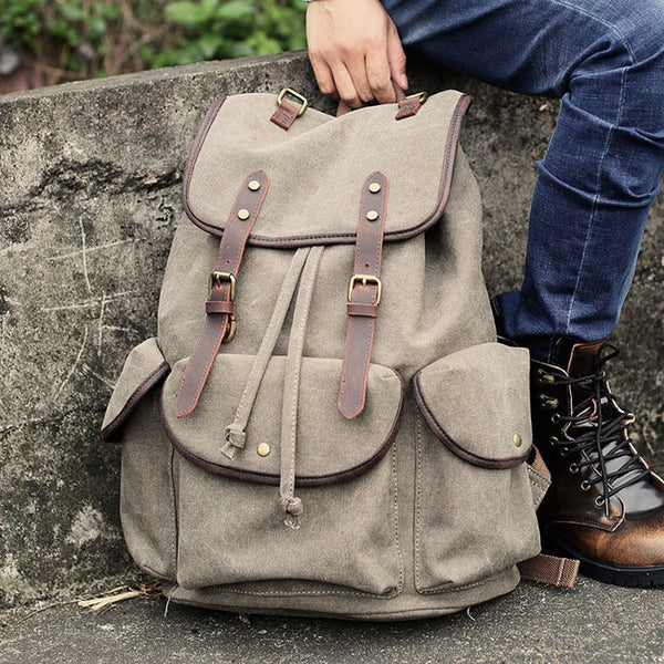 Retro Thick Canvas Large Travel College Backpack Leather Strap Rucksack