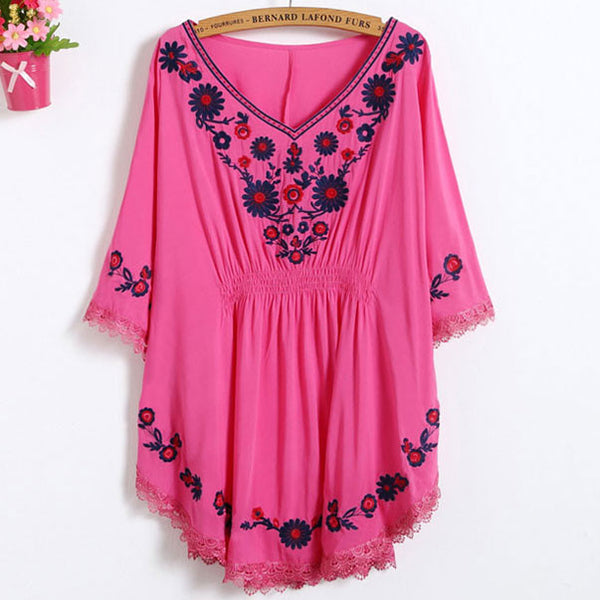 Sleeves Flowers Embroidery Waist Tight Lace Details Top