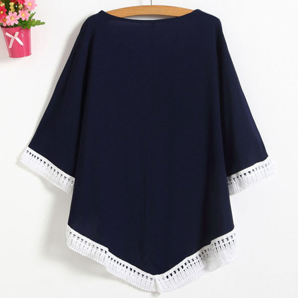 Women's Batwing Sleeves Bohemian Style Embroidery Hollowed-out Hem-line Tops