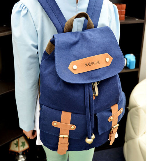 Retro Two Pockets School Fashion Canvas Backpacks
