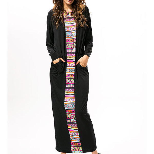 Women's Long Botwing Sleeves Splicing Printing Full-length One-step loose Dress