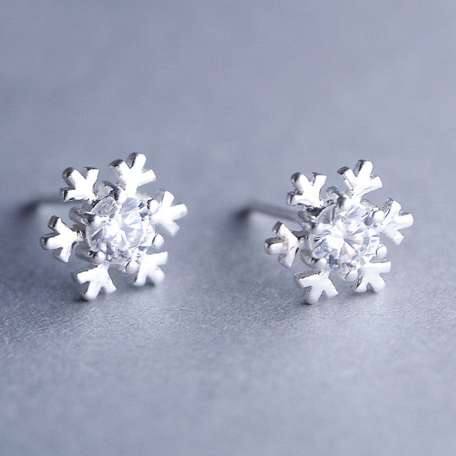 Cute Shining Winter Silver Diamond-bordered Snowflake Women's Earring Studs