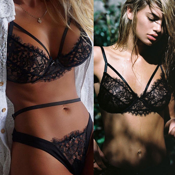Lace Hollow Out Bra Set Sexy Spaghetti Strap Stylish Underwea Lingerie Set