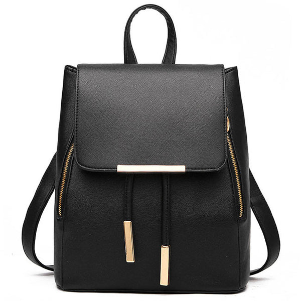 Cute Black Solid Simple Square PU Drawstring Hasp Satchel Backpack
