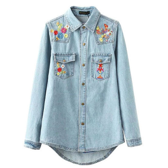 Embroidery Blue-washed Distressed Denim Shirt