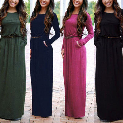 Simple Style Round Neck With Belt Maxi Pocket Slim Waist Long Sleeve Dress