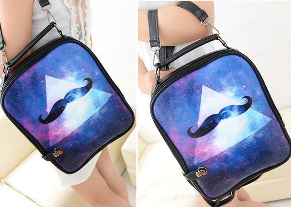 Cartoon Triangle Galaxy Beard Print Backpack & Handbag - lilyby