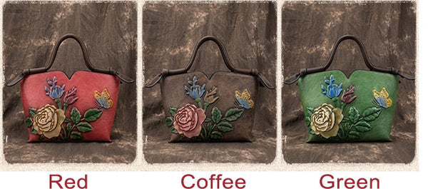 Retro Real 3D Flower Leaves Butterfly Embossing Handbag Handmade Shoulder Bag