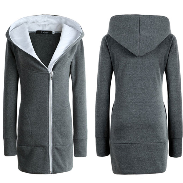 Fashion Thicken Cotton-padded Slim Outwear Women's Winter Long Zipper Warm Hoodie Jacket Coat