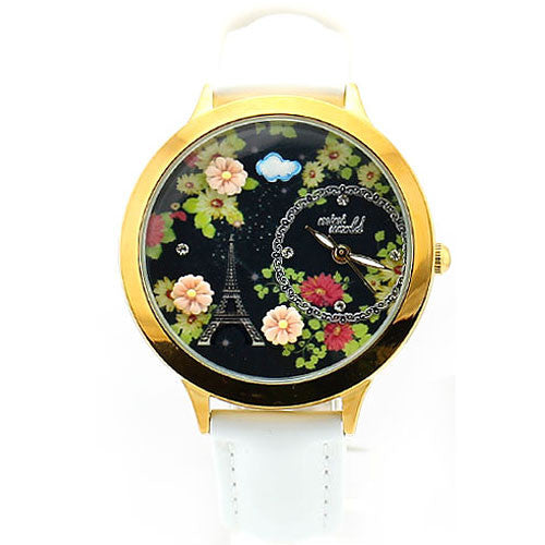 Graceful Black Floral Eiffel Tower Watch - lilyby
