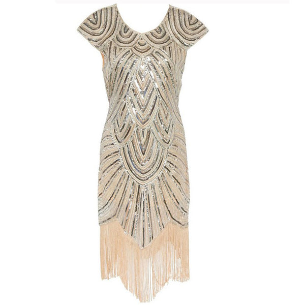 Elegant Women's Sequin Tassels Dress Luxury Evening Dress
