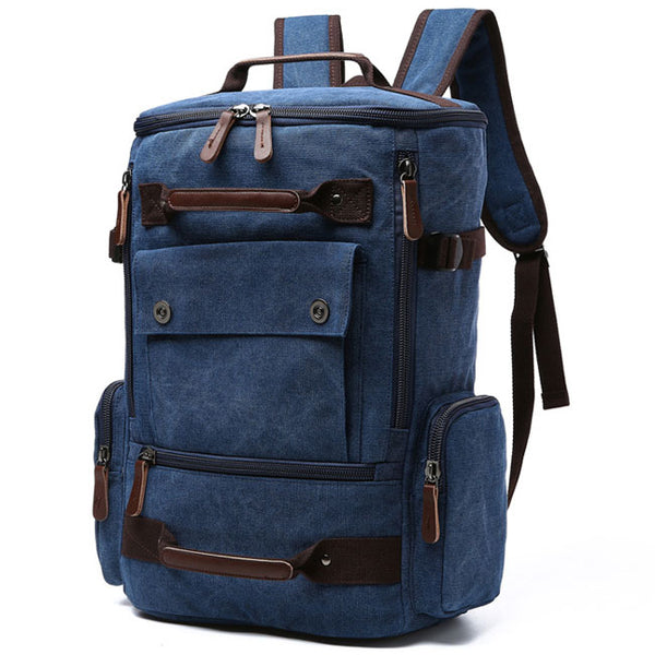 Retro Travel Outdoor Backpack Large Capacity Boy's Canvas Zipper Backpack Washing Color School Backpack