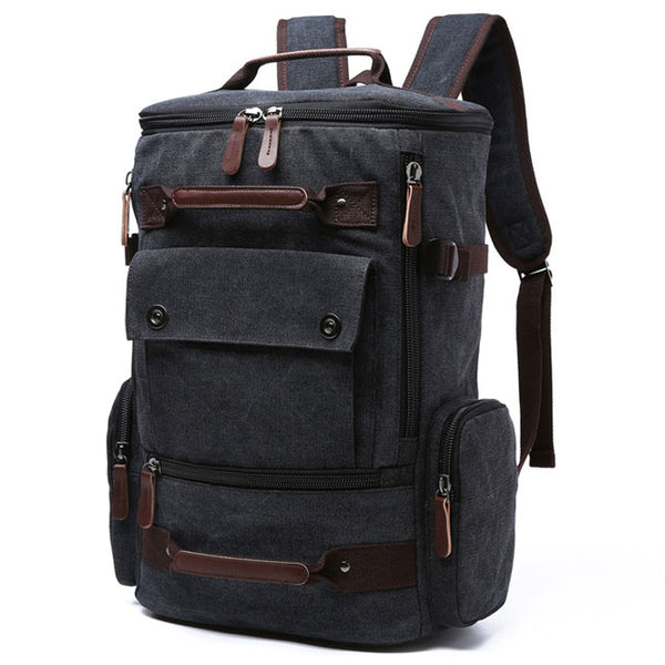 Retro Washing Color School Backpack Travel Outdoor Backpack Large Capacity Boy's Canvas Zipper Backpack
