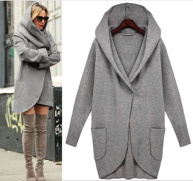 Fashion Simple  Loose Wool Long-sleeved Jacket With Pocket