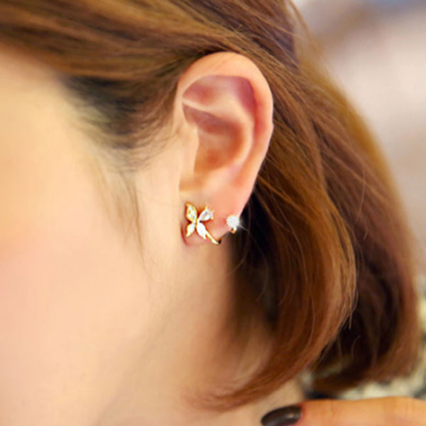 Fresh Silver Diamond Butterfly Spiral Flower Earrings Studs