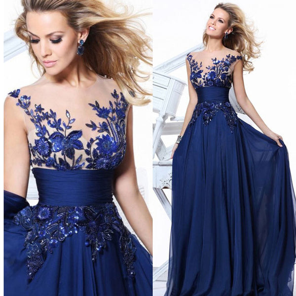 Fashion Women's Long Lace Prom Dresses Luxury See Through Flower Evening Dress