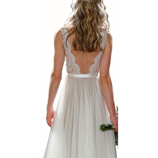 Sexy Women's Long V Neck Prom Dresses Lace Party Wedding Backless Dress