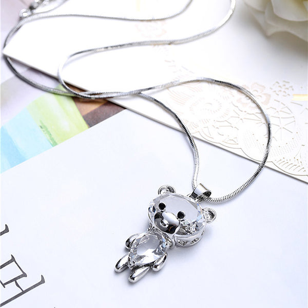 Cute Crystal Dancing Bear Doll Pendant Necklace Sweater Chain Necklace