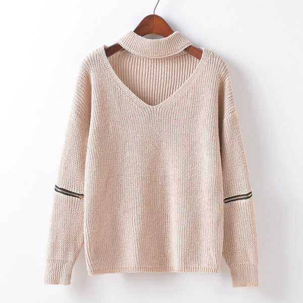 V-neck Choker Zipper Decorative Sleeves Sweater