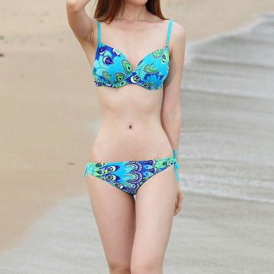 Hot Sexy Peacock Printing Triangle Gather Bikini - lilyby