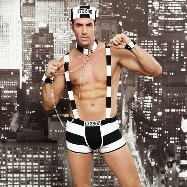 Sexy Performance Erotic Underwear Male Prisoner Costume Stripe Uniform Nightclub Bar  Man Conjoined Lingerie