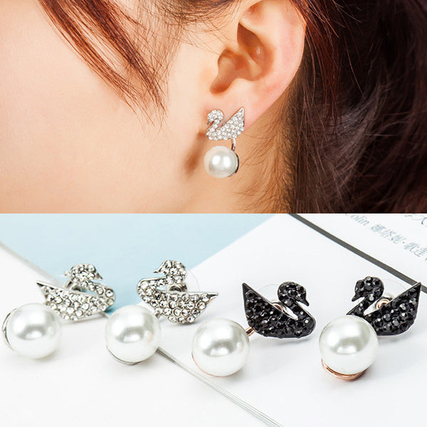Cute Swan Hanging Pearl Eardrop Shining Animal Earring Studs