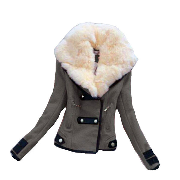 Fashion With Large Plush Collar Slim Short Jacket Biker Jacket