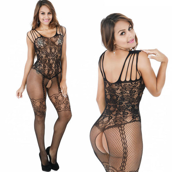 Jacquard Bodystocking Open Cup Bras Conjoined Net Lingerie Set