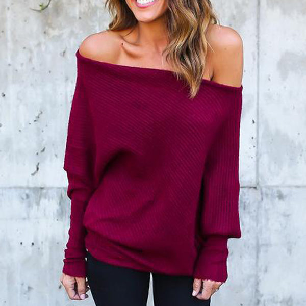 Sexy Bat Long Sleeve Women's Coat Off Shoulder Sweater
