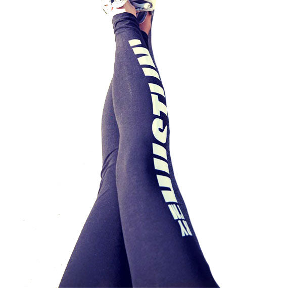 Sexy Girl's Letters Printing Yoga Sports Ninth Skinny Legging