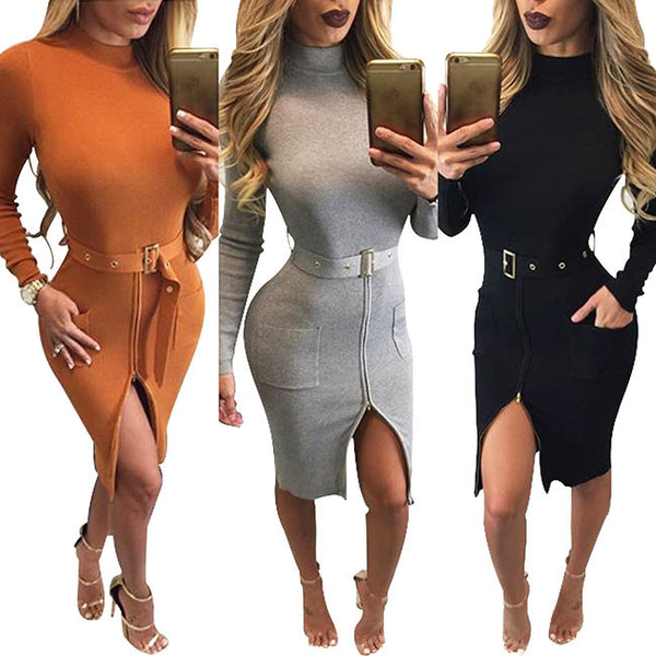 Long Sleeves Turtleneck Tight Split Splicing Bodaycon Dress With Belt