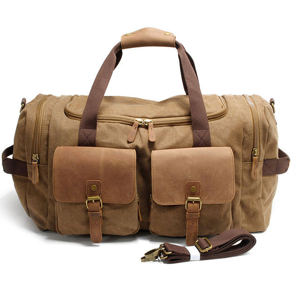 Retro Sports Handbag Large Capacity Travel Laptop Thick Canvas Shoulder Bag  Real Leather Multi-Pockets Luggage Bag