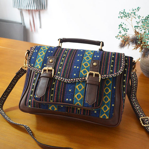 Leisure Folk Nation Totem Weave Double Belt Shoulder Bag Canvas Messenger Bag