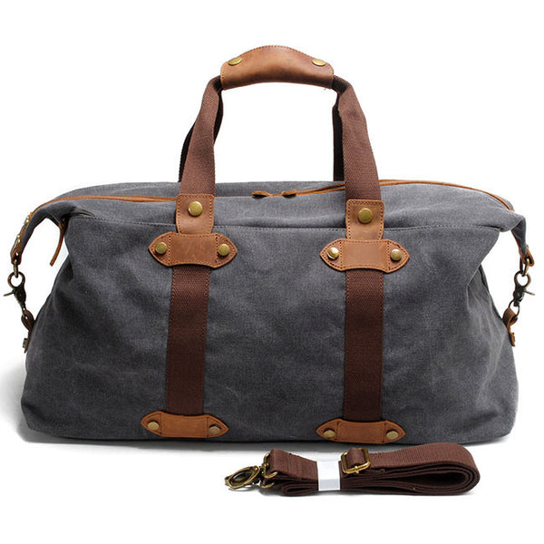 Vintage Splicing Leather Zipper Belt Luggage Bag Canvas Travel Shoulder Bags Retro Large Capacity Handbag