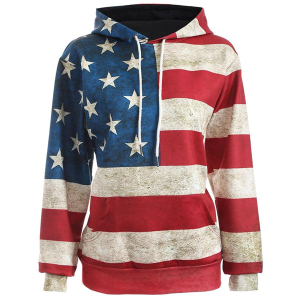 Vintage USA Flag Stars Stripe Hooded Jacket Ladies Casual Pullover Sweater