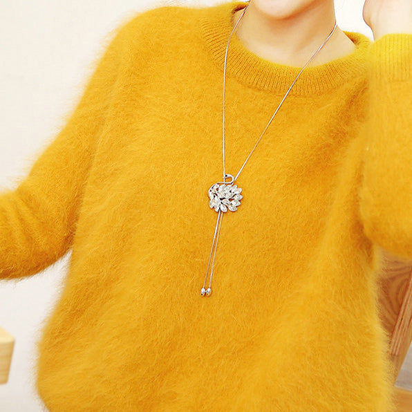 Fashion Swan Shape Crystal Feathered Sweater Chain Necklace Diamond-bordered Pendant Necklace