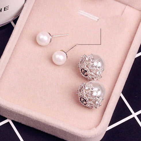 Cute Shining Hollow Diamond-bordered Pearl Amphibious Women's Earring Studs