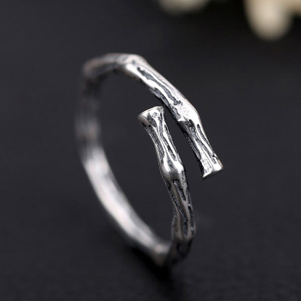 Vintage Silver Women Rings Retro Branch Open Ring