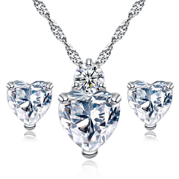 Shining Sincere Love Heart Crystal Zircon Necklace Earring Studs Set