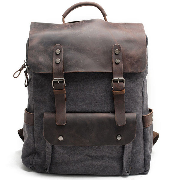 Retro Splicing Leather Camping Backpack Large Thick Canvas Travel Bag Rucksack