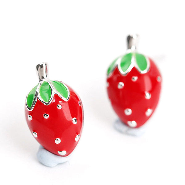 Cute 925 Silver Strawberry Girl Earring Studs