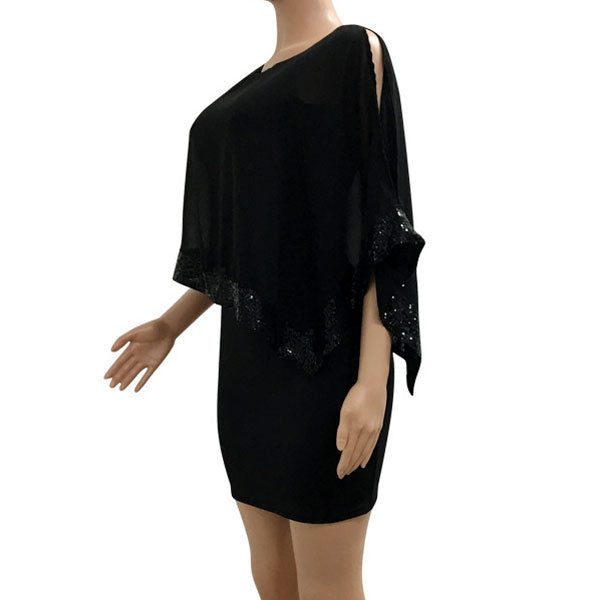 Fashion Chiffon Splicing Sequins Shawl Women's Dress