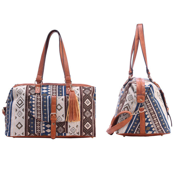 Canvas National Style Geometric Patterns Printing Splicing PU Belt and Tassel Shoulder Bag Large Capacity Travel Bag