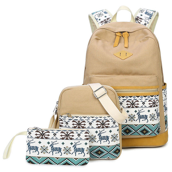Fresh Totem Deer Embroidery Splicing Large Canvas School Backpack