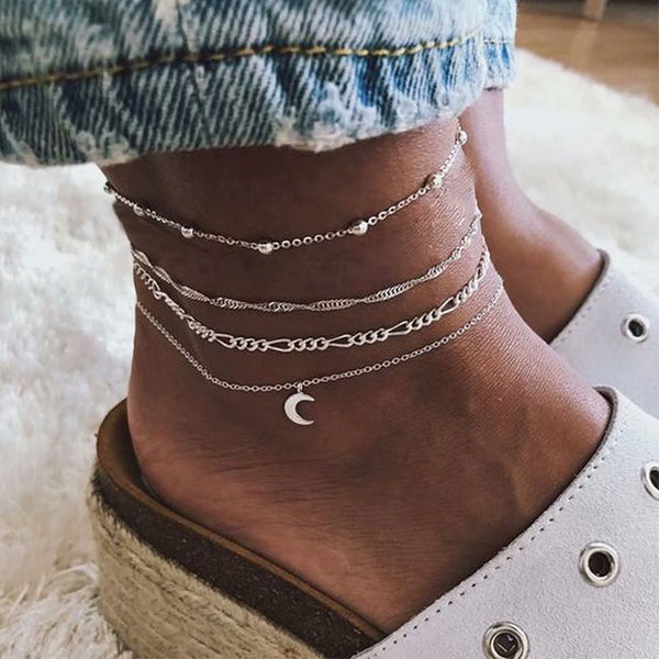 Leisure Personality Multi-layer Foot Accessories Women's Moon Alloy 4 Piece Set Anklet