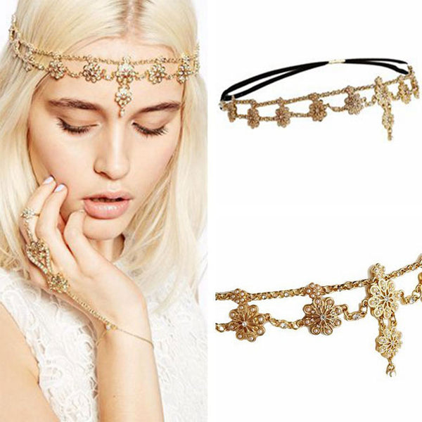 Fashion Pearl Flower Stretch Tassel Headband Hair Chain Hair Accessories
