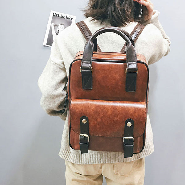 Retro Soft PU College Bag Multi-function Brown British Style Square School Backpack