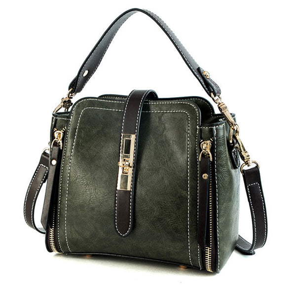 Elegant Single Buckle Women Handbag Double Zippers Shoulder Bag